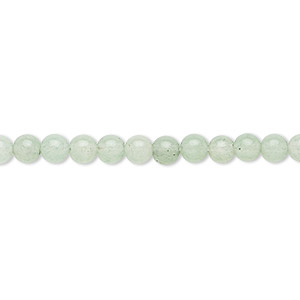 bead, green aventurine (natural), light to medium, 4mm round, b grade, mohs hardness 7. sold per 16-inch strand.
