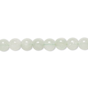 bead, green aventurine (natural), light to medium, 5-6mm hand-cut round, c+ grade, mohs hardness 7. sold per 12-inch strand.