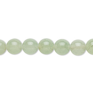 bead, green aventurine (natural), light to medium, 8mm round, b grade, mohs hardness 7. sold per 16-inch strand.