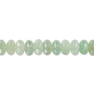 bead, green aventurine (natural), light to medium, 8x5mm faceted rondelle, b grade, mohs hardness 7. sold per 16-inch strand.