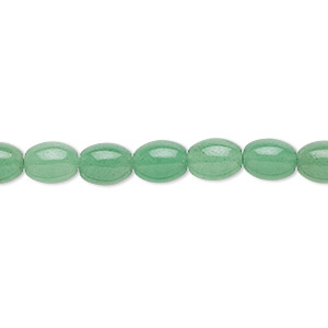bead, green aventurine (natural), light to medium, 9x6mm oval, b grade, mohs hardness 7. sold per 16-inch strand.