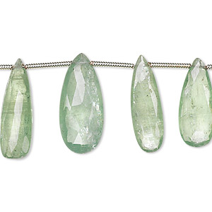 bead, green kyanite (natural), 14x6mm-24x11mm graduated hand-cut top-drilled faceted puffed teardrop, b- grade, mohs hardness 4 to 7-1/2. sold per 8-inch strand, approximately 15 beads.