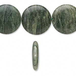 bead, green line jasper (natural), 35mm flat round, b- grade, mohs hardness 6-1/2 to 7. sold per 16-inch strand.