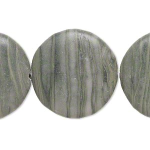 bead, green line stone (natural), 33mm flat round, b- grade, mohs hardness 3. sold per pkg of 3.