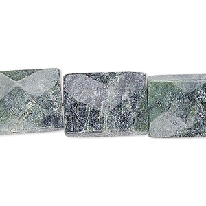 bead, green marble (natural), 17x12mm-18x13mm faceted flat rectangle, c grade, mohs hardness 3. sold per 15-inch strand.