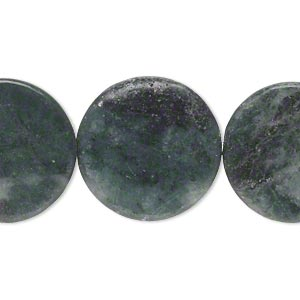 bead, green marble (natural), light to dark, 20-22mm flat round, c- grade, mohs hardness 3. sold per 15-inch strand.