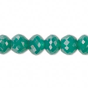 bead, green onyx (dyed), 10x8mm hand-cut faceted rondelle, b grade, mohs hardness 6-1/2 to 7. sold per pkg of 10.