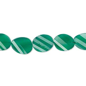 bead, green onyx (dyed), 11x9mm hand-cut faceted twisted flat oval, b+ grade, mohs hardness 6-1/2 to 7. sold per pkg of 5.