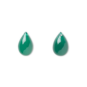 bead, green onyx (dyed), 12x8mm hand-cut top-drilled teardrop, b grade, mohs hardness 6-1/2 to 7. sold per pkg of 2.