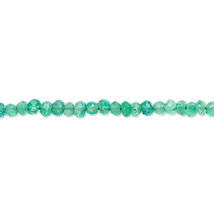 bead, green onyx (dyed), 3x2mm-4x3mm hand-cut faceted rondelle, c grade, mohs hardness 6-1/2 to 7. sold per 13-inch strand.