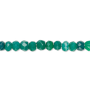 bead, green onyx (dyed), 5x3mm-6x5mm hand-cut faceted rondelle, c+ grade, mohs hardness 6-1/2 to 7. sold per 12-inch strand.