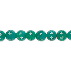 bead, green onyx (dyed), 6-8mm faceted round, c grade, mohs hardness 6-1/2 to 7. sold per 10-inch strand.