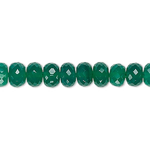 bead, green onyx (dyed), 7x5mm-8x6mm hand-cut faceted rondelle, b+ grade, mohs hardness 6-1/2 to 7. sold per 8-inch strand.