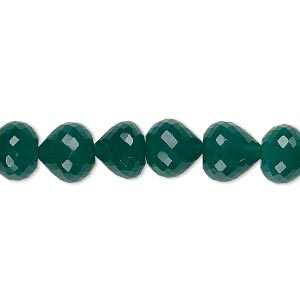 bead, green onyx (dyed), 9x8mm hand-cut faceted teardrop, b+ grade, mohs hardness 6-1/2 to 7. sold per pkg of 10.