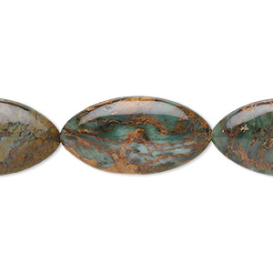 bead, green opal (natural), 30x15mm flat marquise, b grade, mohs hardness 4-1/2 to 6. sold per 16-inch strand.