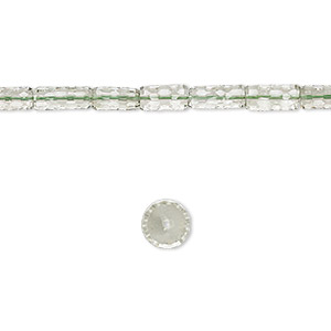 bead, green quartz (heated), 13x6mm-15x6mm hand-cut concave faceted round tube, b grade, mohs hardness 7. sold per 8-inch strand, approximately 15 beads.