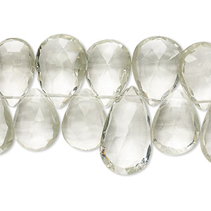 bead, green quartz (heated), 14x10mm-18x14mm hand-cut top-drilled faceted puffed teardrop, b grade, mohs hardness 7. sold per 4-inch strand.