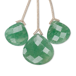 bead, green quartz (heated), 14x14mm and 18x18mm hand-cut top-drilled faceted pear, b grade, mohs hardness 7. sold per pkg of 3 beads.
