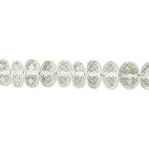 bead, green quartz (heated), 8x5mm-9x6mm hand-cut faceted oval, a- grade, mohs hardness 7. sold per 7-inch strand.