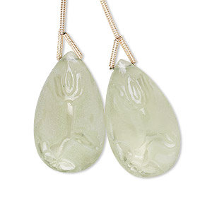 bead, green quartz (heated), frosted, 25x15mm hand-cut top-drilled carved teardrop with double-sided flower design, b+ grade, mohs hardness 7. sold per pkg of 2 beads.