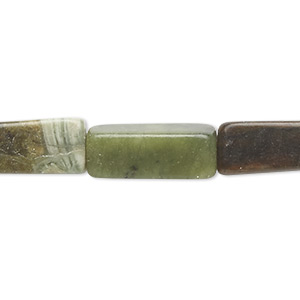bead, green serpentine (natural), 17x7mm-19x9mm square tube, c grade, mohs hardness 2-1/2 to 6. sold per 15-inch strand. minimum 5 per order.