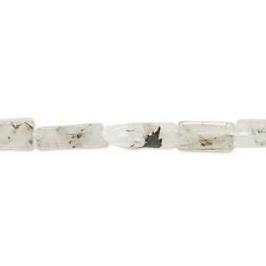 bead, green tourmalinated quartz (natural), 9x4mm-12x5mm hand-cut square tube, c grade, mohs hardness 7. sold per 13-inch strand.