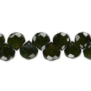 bead, green tourmaline (natural), 7x7mm-9x9mm hand-cut top-drilled faceted teardrop, b+ grade, mohs hardness 7 to 7-1/2. sold per 8-inch strand.