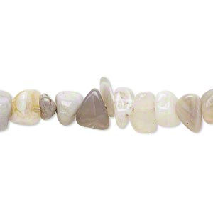 bead, grey agate (natural), medium chip, mohs hardness 6-1/2 to 7. sold per 15-inch strand.