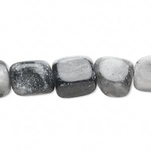 bead, grey and black marble (natural), small nugget, mohs hardness 3. sold per 16-inch strand. minimum 2 per order.