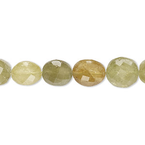 bead, grossularite garnet (natural), 8-10mm hand-cut faceted puffed flat round with 0.4-1.4mm hole, b grade, mohs hardness 6-1/2 to 7-1/2. sold per 8-inch strand, approximately 20 beads.