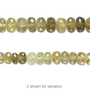 bead, grossularite (natural), shaded, 6x3mm-8x5mm graduated hand-cut faceted rondelle, b- grade, mohs hardness 6-1/2 to 7-1/2. sold per 14-inch strand.