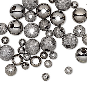 bead, gunmetal-plated brass, 4-8mm assorted round. sold per pkg of 50.