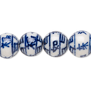 bead, hand-glazed porcelain, opaque white and blue, 11mm double-sided round with chinese symbols. sold per 8-inch strand, approximately 15 beads.