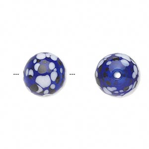 bead, handblown glass, cobalt blue / brown / white, 13mm round. sold per pkg of 2.