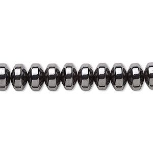 bead, hemalyke™ (man-made), magnetic, 8x3mm rondelle. sold per 16-inch strand.