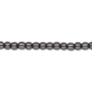 bead, hemalyke™ (man-made), magnetic, black, 4mm round. sold per 16-inch strand.