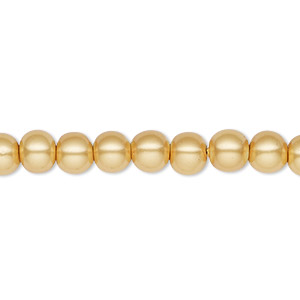 bead, hemalyke™ (man-made), magnetic, gold, 6mm round. sold per 16-inch strand.