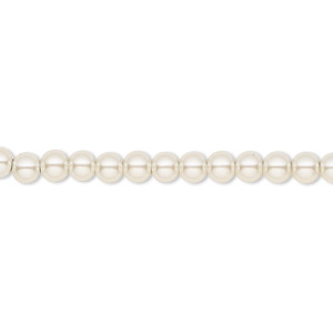 bead, hemalyke™ (man-made), pearlescent ivory, 4mm round. sold per 16-inch strand.