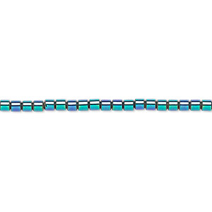 bead, hemalyke™ (man-made), rainbow, 2mm round tube. sold per 16-inch strand.