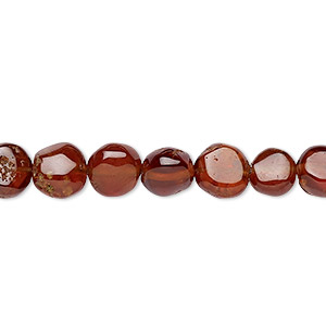 bead, hessonite garnet (natural), 7-9mm hand-cut uneven puffed flat round, c grade, mohs hardness 7 to 7-1/2. sold per 7-inch strand.