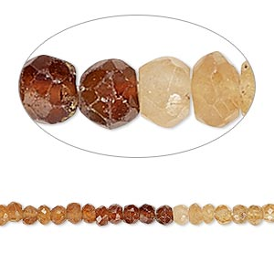 bead, hessonite garnet (natural), shaded, 3x2mm-4x3mm hand-cut faceted rondelle, b- grade, mohs hardness 7 to 7-1/2. sold per 12-inch strand.
