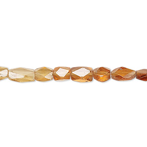 bead, hessonite garnet (natural), shaded, 6x4mm-8x6mm hand-cut faceted puffed rectangle, b grade, mohs hardness 7 to 7-1/2. sold per 13-inch strand.