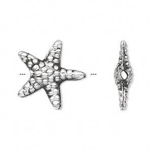 bead, hill tribes antique silver-plated brass, 19x19mm double-sided starfish. sold individually.
