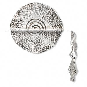 bead, hill tribes, antique silver-plated copper, 25.5mm double-sided textured wavy flat round with swirl design. sold individually.