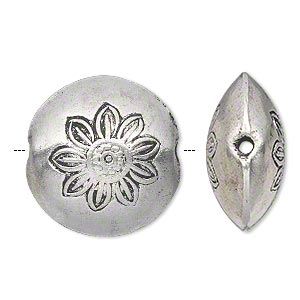 bead, hill tribes, antique silver-plated copper, 26mm double-sided puffed flat round with flower design. sold individually.