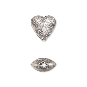 bead, hill tribes, antiqued fine silver, 12mm double-sided textured puffed heart with flower. sold individually.