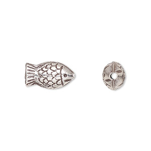 bead, hill tribes, antiqued fine silver, 13x8mm fish. sold individually.