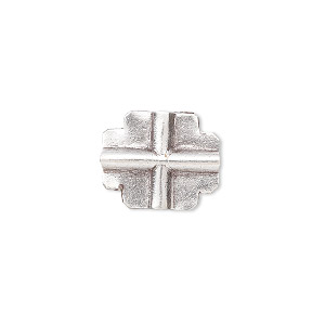 bead, hill tribes, antiqued fine silver, 17x14mm flat cross. sold individually.