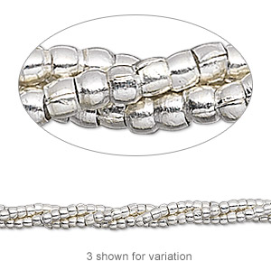 bead, hill tribes, antiqued fine silver, 2mm round. sold per 16-inch strand.