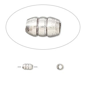 bead, hill tribes, antiqued fine silver, 5x3mm ribbed capsule. sold per pkg of 4.